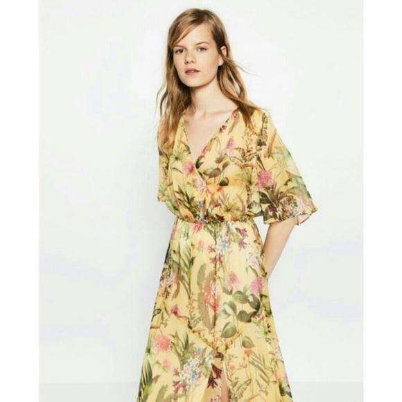 Zara dresses yellow botanical flowers floral maxi dress poshmark m5ae0a55236b9dec8cc3a2eeb mightylinksfo